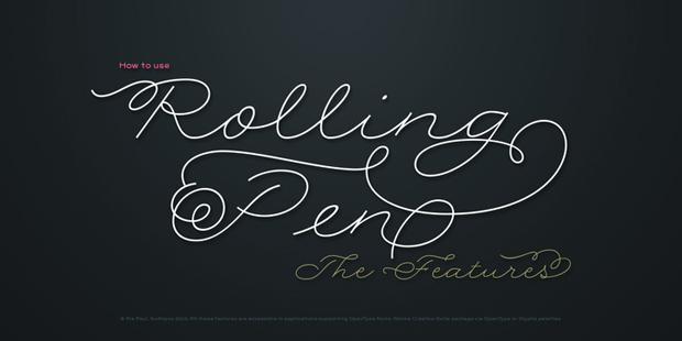 Rolling Pen, nueva fuente caligráfica de curvas redondas de Ale Paul