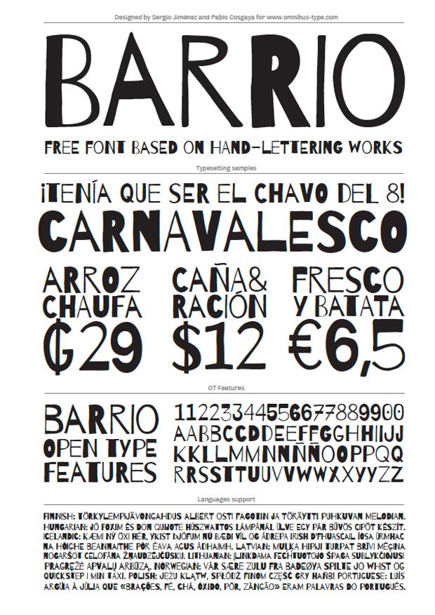 Barrio, tipografía