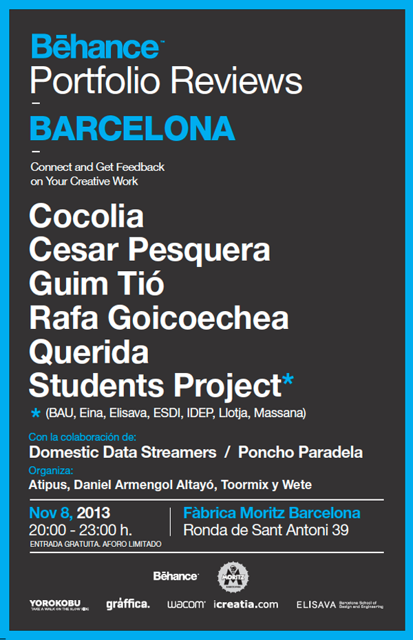 Behance Portfolio Reviews cartel Barcelona 2013