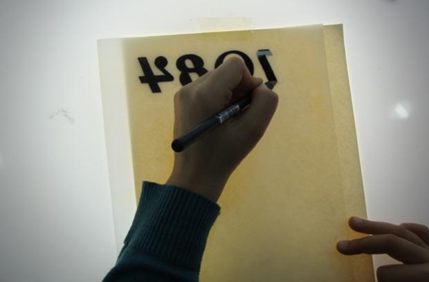 grabado y tipografia, práctica de un alumno de la ESAT