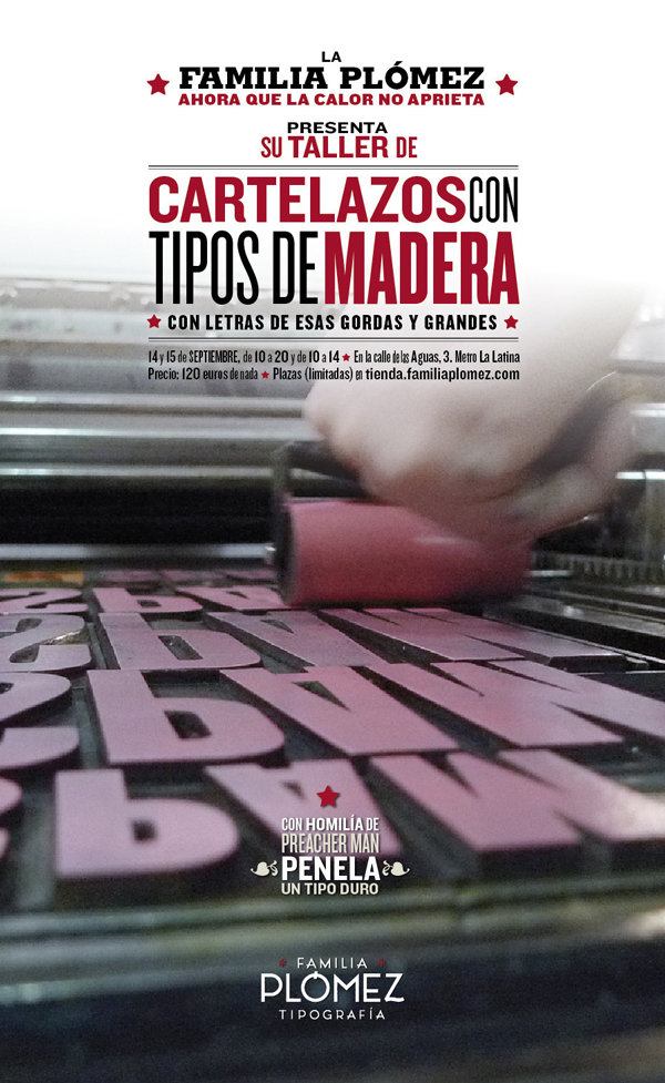 Famila Plómez, cartel curso tipografía con tipos de madera para carteles