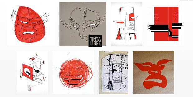 Tinta libre, ilustraciones de máscaras del mexicaco Julio Matínez