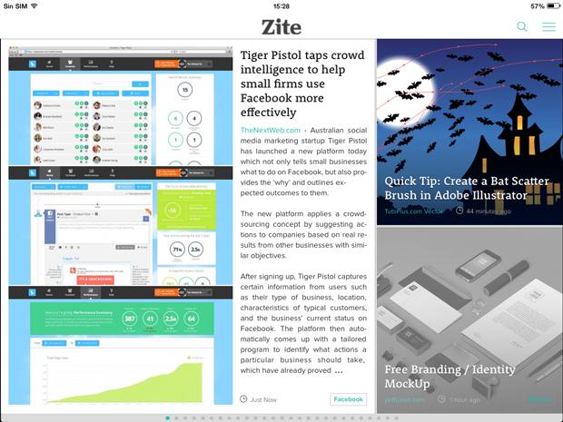 revistas para tabletas - agregador noticias Zite
