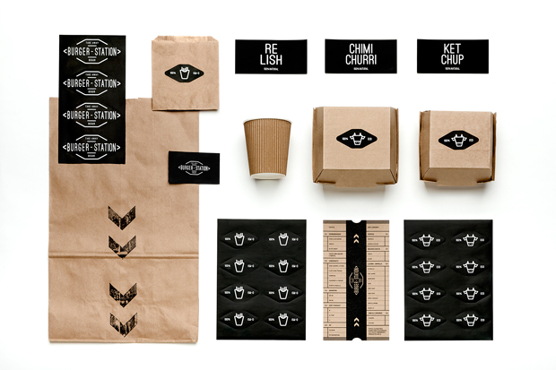 Burger Station, línea de branding y packaging, por Nueve Estudio