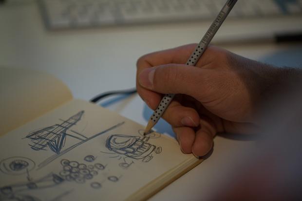 Sergio del Puerto – Serial Cut,  bocetos a lápiz