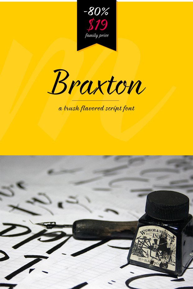 Braxton, familia tipográfica a pincel, gratuita o de pago