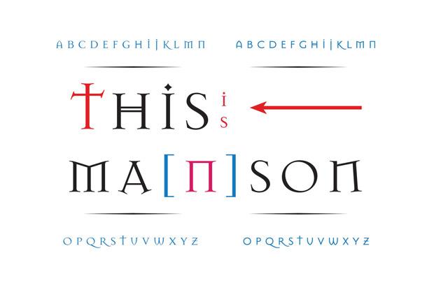 Jonathan Barnbrook, tipografía: familia Ma(n)son