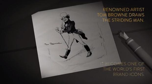 Johnnie Walker, caminante dibujado por Tom Browne