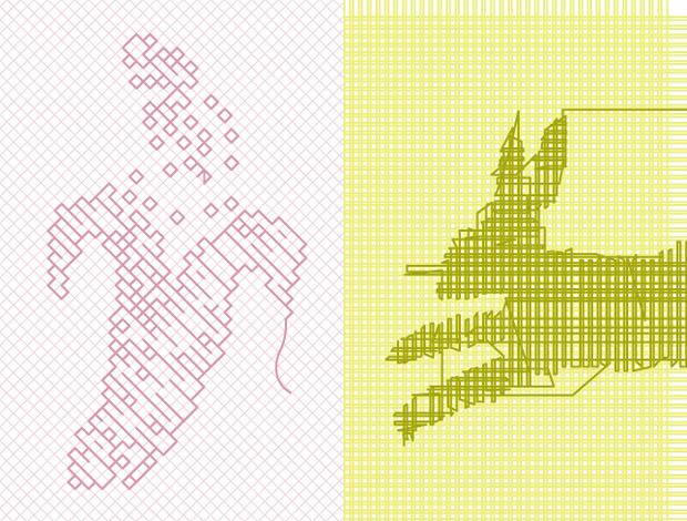 Floripondio, ilustraciones realizadas en punto de cruz