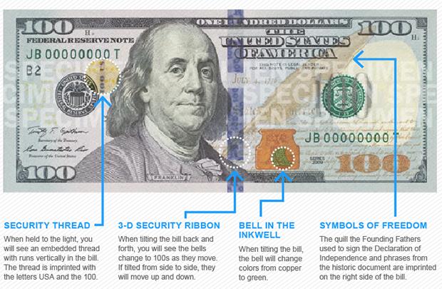detalles antifalsificación del nuevo billete 100 dólares
