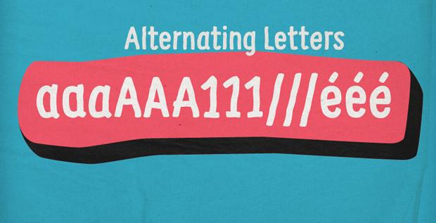 Supernett, font alternating letters