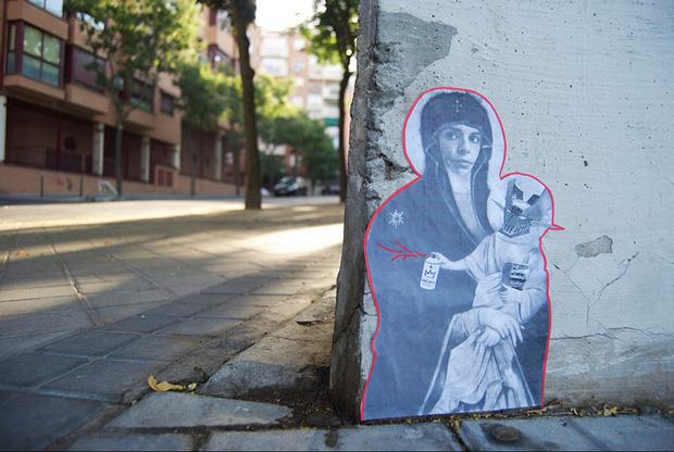 Ana Botella Crew, graffiti virgen María