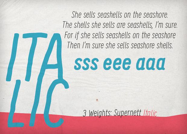 Supernett, font Italic