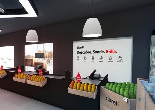 Clarel, marca diseño de Interbrand para Grupo DIA, displays y lineal