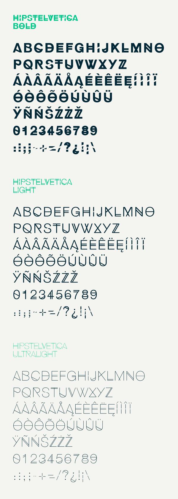 Hipstelvetica es la fuente gratuita, basada en la esencia de la fuente Helvetica y en el estilo retro de los hipsters, creada por José Gomes.