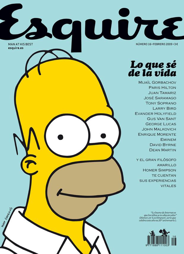Clara Montagut, portada nº 27 Esquire con Homer Simpson