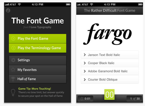 apps de tipografía, The Font Game – app para tipópatas