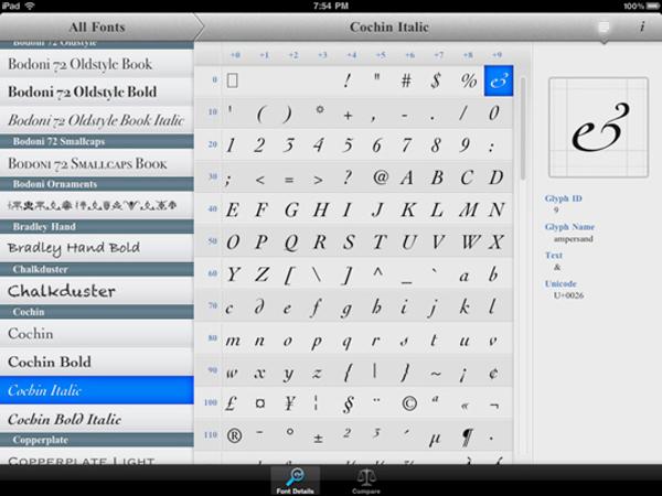 apps de tipografía, Typefaces - app para tipópatas