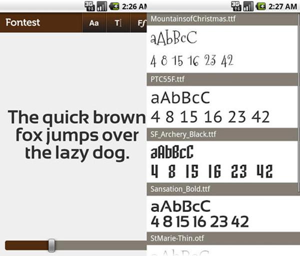 apps de tipografía, Fontest – app para tipópatas