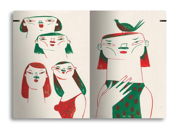 Malota, ilustraciones de 'Hacia ningún lugar, una colección de silencios' páginas interiores