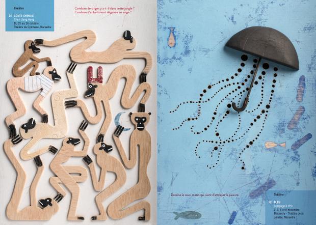 Isidro Ferrer, ilustraciones gráficas para el cuadernillo Cahiers de Vacances