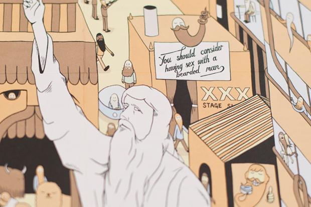 barbudos, ilustraciones para el álbum TheBeards