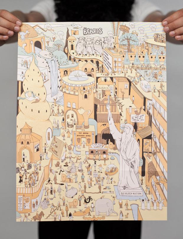 barbudos, ilustraciones póster álbum TheBeards