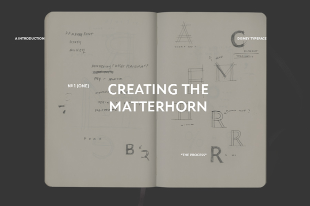 Matterhorn, familia tipográfica de Disney personalizada por Cina Associates