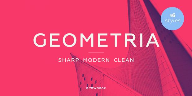 Geometria, familia sans serif aguda, moderna y limpia