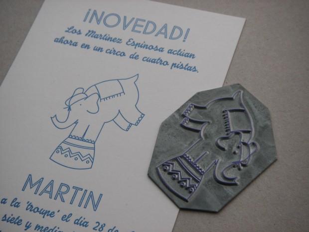 Grabado compuesto con letras de plomo impreso en Letterpress