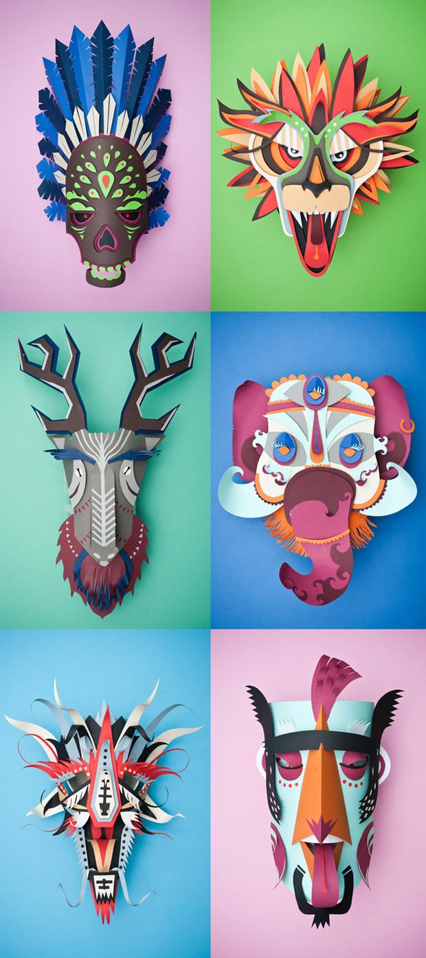 carnaval gráfico – máscaras en papercraft de INK Studio
