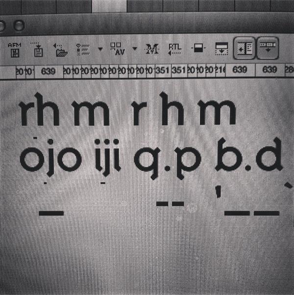 tipografía boceto proceso creación en pantalla