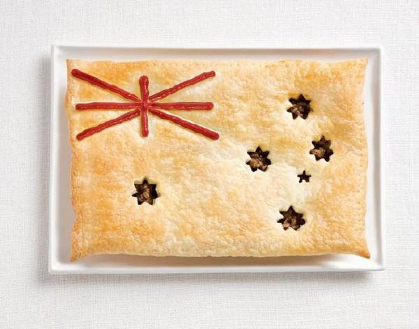 australia flag made from food 600x471 Banderas nacionales creadas a partir de los alimentos típicos de cada país