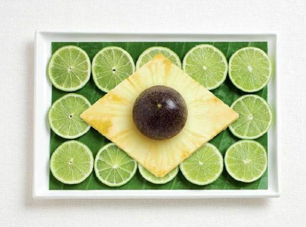 brazil flag made from food 600x445 Banderas nacionales creadas a partir de los alimentos típicos de cada país