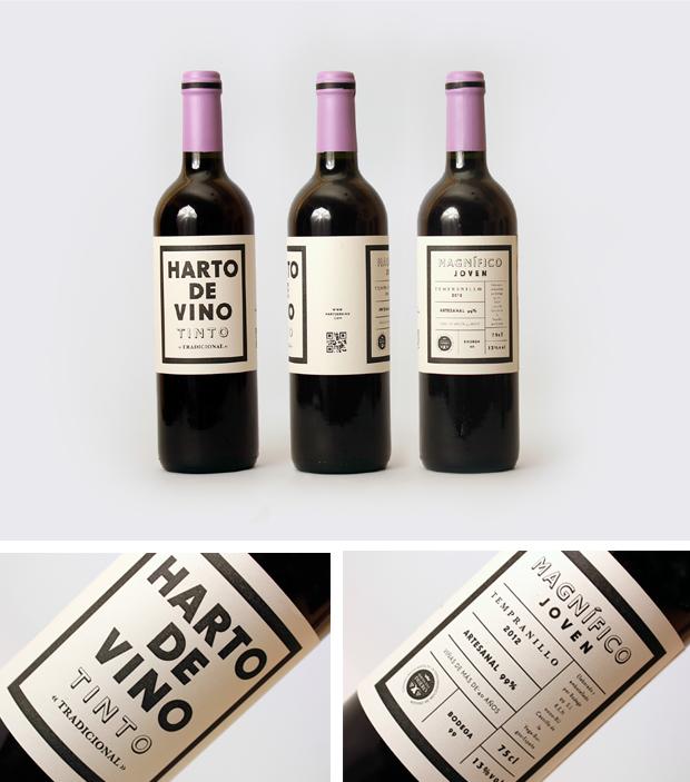 Detalle de las etiquetas de vino
