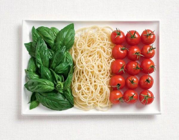 Banderas nacionales creadas a partir de los alimentos típicos de cada país