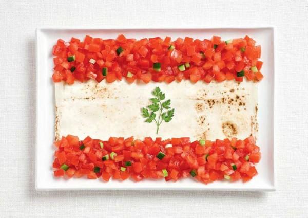lebanon flag made from food 600x424 Banderas nacionales creadas a partir de los alimentos típicos de cada país