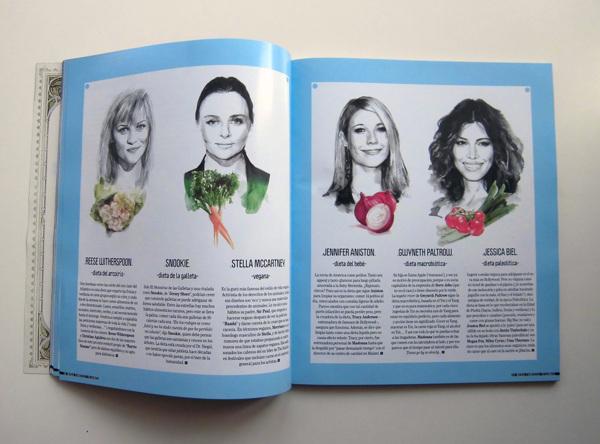Ilustración de personajes famosos vegetarianos