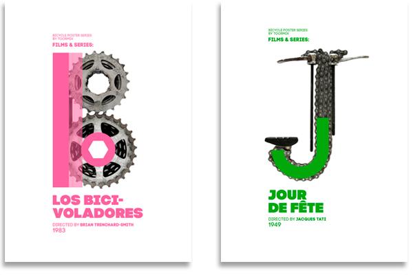 Diseño de carteles Bike to Life con el alfabeto Bicis