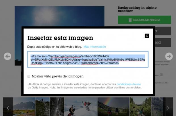 código de Getty Images para embeber imágenes