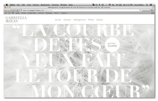Diseño web para Gabriella&jean Wedding