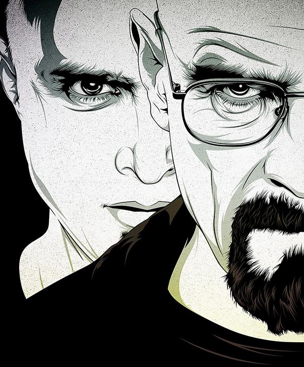 Ilustración de personajes famosos de series de televisión