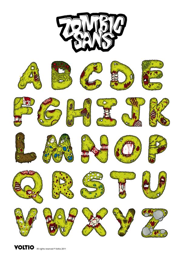 Tipografia Zombic Sans
