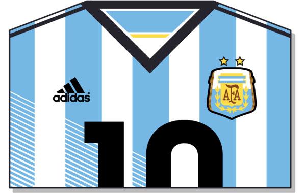 Argentina – camiseta en vectorial realizada por Pablo Alejandro Gómez