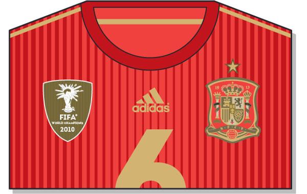 Camiseta oficial de España Mundial 2014 en vectorial