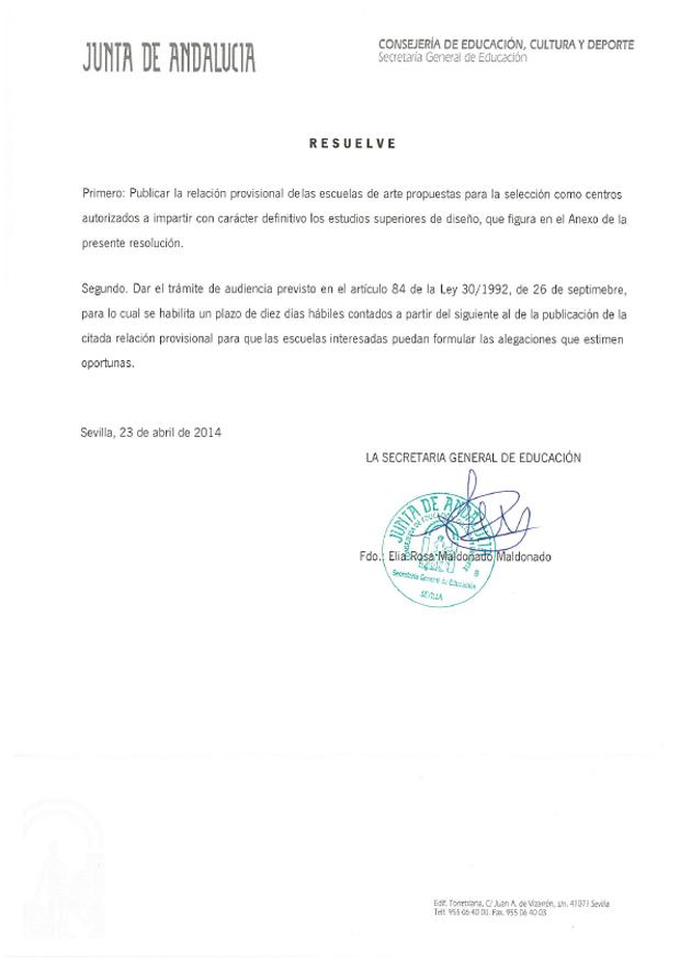 Resolución escuelas de diseño Andalucía