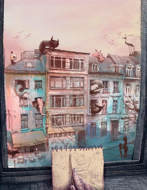 Ilustración para el álbum ilustrado de Dulk que partició en el conurso Brusseles in Shorts