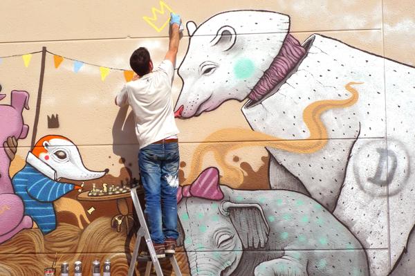 Pintural mural en proceso