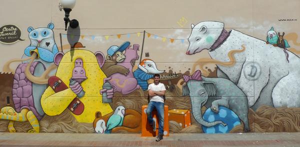 Pintura mural titulada Friends