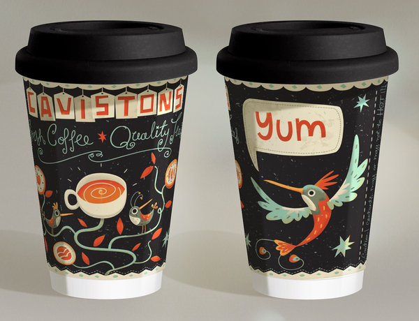Ilustración para vasos de café